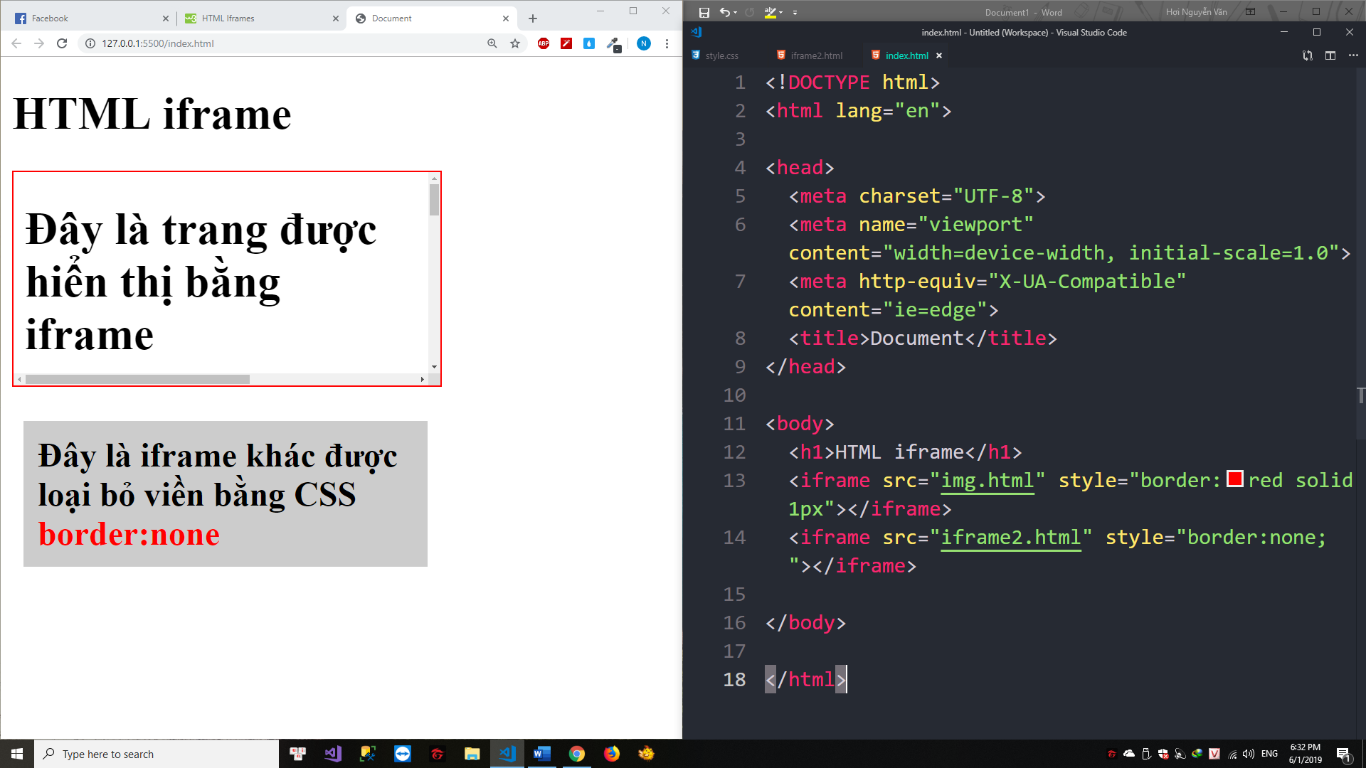 Thẻ iframe HTML